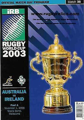 AUSTRALIA v IRELAND 1st NOVEMBER 2003 RUGBY WORLD CUP PROGRAMME