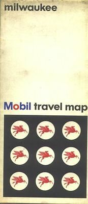 1966 Mobil Milwaukee Vintage Road Map