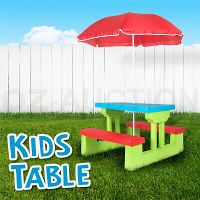 Kids Multi-Colour Picnic Table Outdoor Indoor Bench Set Chair with  Umbrella