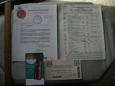 NICE 1946 Illustrated Letterhead and brochure- Gen. Detroit Fire Extinguisher