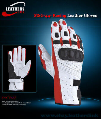 Motorcycle Leather Gloves MSG-44 (SIZE S,M,L)