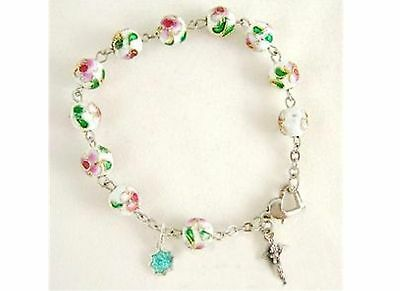 CLOISONNE ROSE BEADS BRACELET ROSARY & CROSS / white CRUCIFIX CATHOLIC
