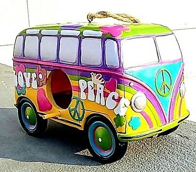 Peace and Love VW bus BIRDHOUSE with Peace symbol and flowers.Peace and Love Bus