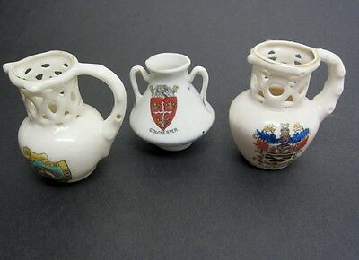 "Antique Crestware 3pc LOT Mini Jug Reticulated Pierced ""Drink without Spill"",Urn"