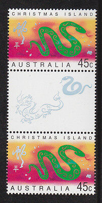 2001 Christmas Island Year Of The Snake - MUH Gutter Pair