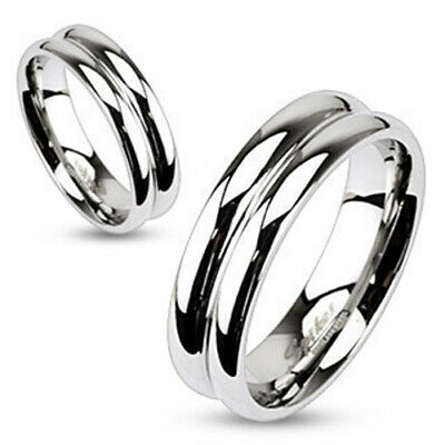 316L Stainless Steel Double Domed Mirror Polished Band Ring Size 5-13