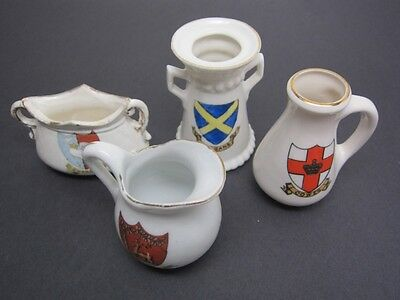 Antique Crestware Goss Crest Model 4pc Lot Ewer Cowes,Berkshire,Stalbans,Swanage