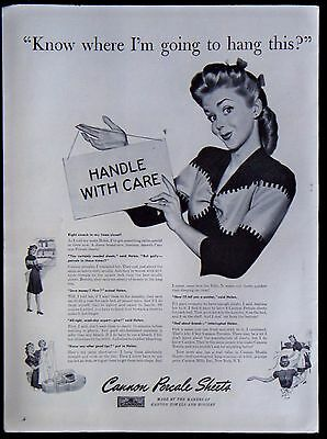 Vintage 1942 Cannon Percale Sheets Magazine Ad