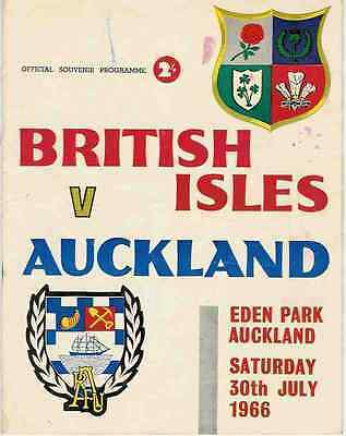 BRITISH LIONS 1966 v AUCKLAND RUGBY PROGRAMME