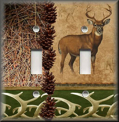 Light Switch Plate Cover - Cabin Home Decor - Rustic Deer With Pine Cones