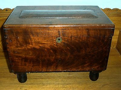 Antique Miniature Homemade Blanket Chest - Walnut - Initialed A.H. 1922