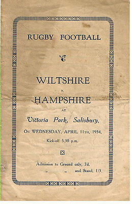 WILTSHIRE v HAMPSHIRE 11 Apr 1934 RUGBY PROGRAMME
