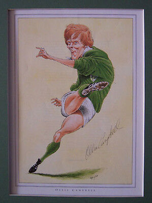Ollie Campbell Ireland & British Lions Caricature Signed Rugby Print With Coa