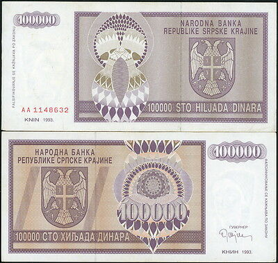 CROATIA 100,000 DINARA CURRENCY NOTE P-R9a CIRCA 1993 IN VF-EF!