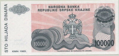 CROATIA 100,000 DINARA CURRENCY NOTE P-R22? c.1993 IN UNC NO SERIAL # - ERROR?!