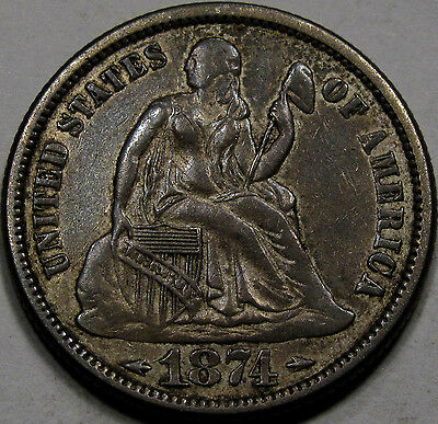 """1874 """"With Arrows"""" Seated Liberty Dime... Choice AU++ So Very NICE and ORIGINAL!"""