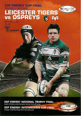 LEICESTER TIGERS v OSPREYS 2008 EDF ENERGY CUP FINAL RUGBY PROGRAMME