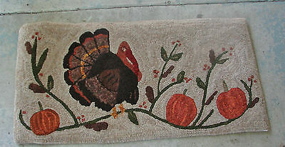 "Primitive Hooked Rug Pattern On Monks ~ ""turkey In The Vines"""