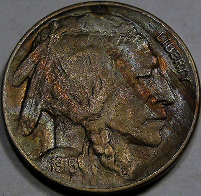 1916-D Buffalo Nickel Choice BU Plus... with Neat Woodgrain Toning, NICE COIN!!!