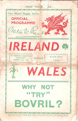 WALES v IRELAND 1938 RUGBY PROGRAMME