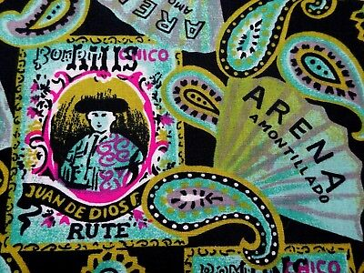 Portraits Of Matadors And Fans On Black Cotton Quilt Fabric