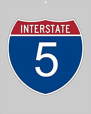 I-5 metal Interstate highway sign - San Diego to Portland to Seattle to Canada