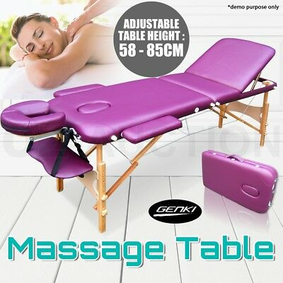 Portable High Density Foam Massage Therapy Table Three Fold Beauty Bed Purple
