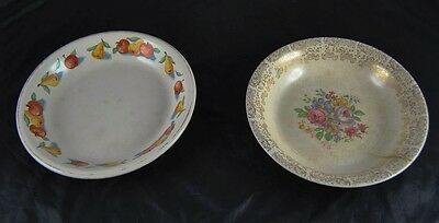 Lot of 2 Antique China Serving Bowls Painted Gold Gilt Hotoven Harker   Q3p4