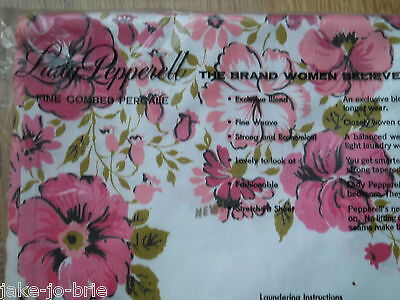 Vintage Lady Pepperell Vintage Flat Sheet Twin Bed Pink Red Flowers Percale NEW