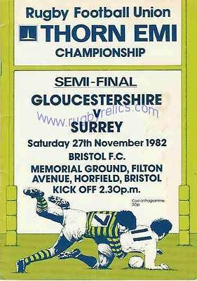 GLOUCESTERSHIRE v SURREY 1982 COUNTY CHAMPIONSHIP SEMI-FINAL RUGBY PROGRAMME