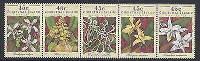 1994 Christmas Island Orchids Strip Of 5 Fine Mint Muh/mnh