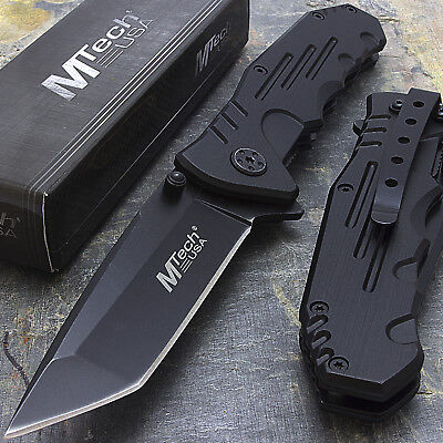"""7.75"""" M-Tech Usa Tanto Blade Black Stainless Steel Tactical Folding Pocket Knife"""