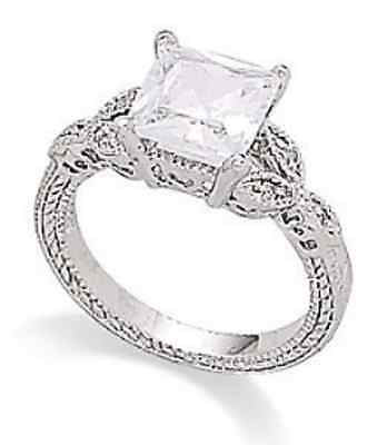 Rhodium Plated 8mm Square CZ and Pave Ring 925 Sterling Silver Pretty Feminine