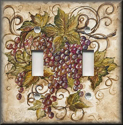 Light Switch Plate Cover - Tuscan Kitchen Decor - Red Tuscan Grapes - Home Decor