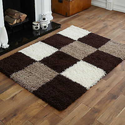 Small - Extra Large Thick Choc. Brown Cream Ivory White Beige Blocks Shaggy Rug
