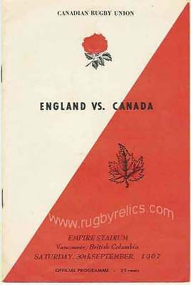 CANADA v ENGLAND 30 Sep 1967 at Vancouver RUGBY PROGRAMME