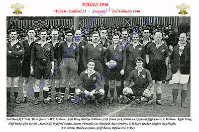 WALES 1946 (v Scotland, 2nd February) RUGBY TEAM PHOTOGRAPH