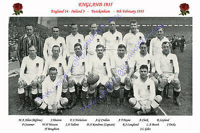 ENGLAND 1935 (v Ireland, 9th February) RUGBY TEAM PHOTOGRAPH