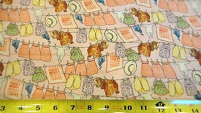 Beatrix Potter The Tale of Mrs Tiggy Winkle Clothes Line Pink Cotton Fabric