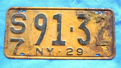 1929 Vintage New York license Plate Original NY Classic Ford Lincoln Mercury #10