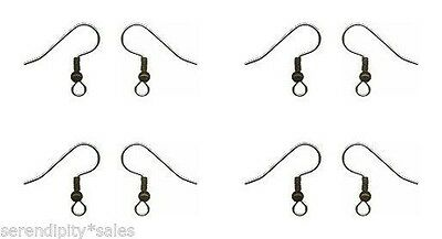 144 STEEL EAR WIRES Hooks ~ Antique BRASS Bead + Coil  ~ 1 gross Earrings 22ga