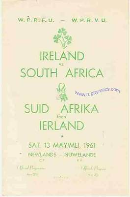SOUTH AFRICA v IRELAND 13th May 1961 RUGBY PROGRAMME
