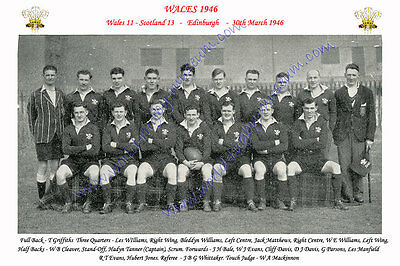 WALES 1946 (v Scotland, 30th March) RUGBY TEAM PHOTOGRAPH