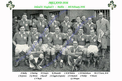 IRELAND 1936 (v England, 8th February) RUGBY TEAM PHOTOGRAPH