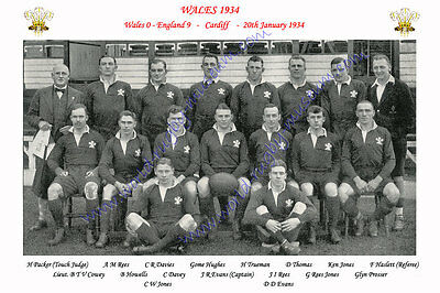 "WALES 1934 (v England) 12"" x 8"" RUGBY TEAM PHOTO PLAYERS NAMED"