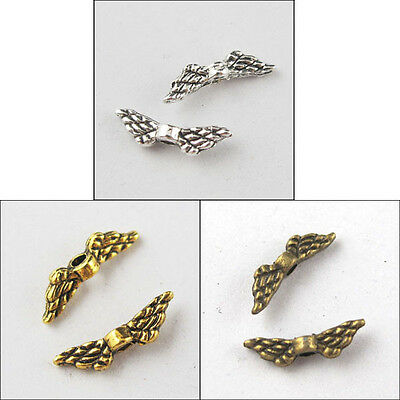 90Pcs Tibetan Silver,Gold,Bronze Tone Tiny-Wings Spacer Beads Charms 3x12mm P077