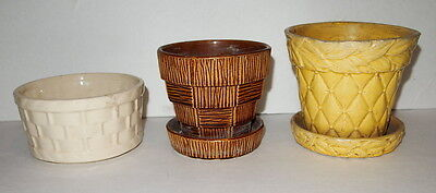 3 VINTAGE  MCCOY PLANTER POTS  BROWN YELLOW & WHITE / BASKETWEAVE STYLE ++ used