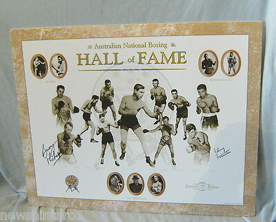 Boxing Poster On Light Board - Signed Barry Michael & Johnny Famechon