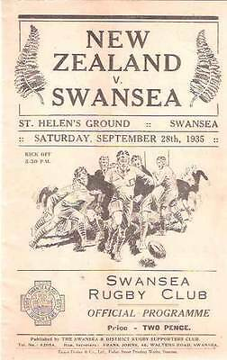 NEW ZEALAND ALL BLACKS TOUR 1935 v SWANSEA RUGBY PROGRAMME