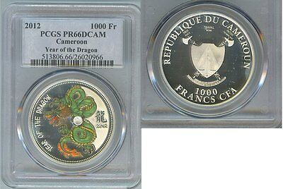 2012 CAMEROON SILVER 1000 FRANC YEAR OF THE DRAGON COLORIZED PCGS PF 66 DCAM